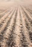 Furrows в поле после вспахивать его Стоковое Фото