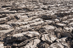 Furrows in the clay field just after ploughing Stock Photography