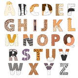 Furry alphabet. Hand drawn vector ilustration  on white Stock Photography