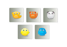 Furry animals buttons Stock Photos