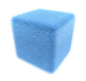 Furry blue cube. Furry cube isolated on white. 3D render Royalty Free Stock Photos