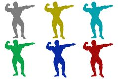 Furry Body Builder Silhouettes Royalty Free Stock Image