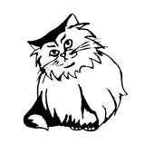 Furry cat (figure). Graphic image of a cat with shaggy fur. Abstract cat print on white background. vector Royalty Free Stock Images