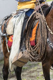 Furry chaps closeup in Ecuador. June 10, 2017 Toacazo, Ecuador: traditional chaps made of llama or sheep fur worn by the local cowboys at rodeos royalty free stock photo