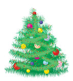 Furry Christmas tree. Decorated Christmas tree with baubles, vector illustration Royalty Free Stock Photography