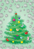 Furry Christmas tree card. Greetings card,  illustration, see more at my portfolio, you can type your text Stock Photography