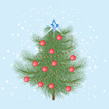 Furry Christmas tree with red balls and a crystal star on top.  vector illustration
