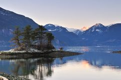 Furry Creek at sunset. Furry Creek, located on Howe Sound in the Squamish-Lillooet Regional District stock photography