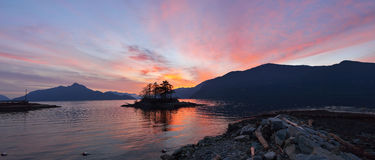Furry Creek at sunset. Furry Creek, located on Howe Sound in the Squamish-Lillooet Regional District Royalty Free Stock Image