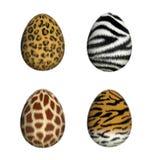 Furry Easter Eggs. Leopard, zebra, giraffe, tiger (3D render Royalty Free Stock Photography