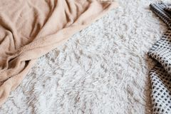 Furry fabric fleece comfy crumpled bedroom blanket. Soft furry fabric background. cozy fleece blanket. crumpled bed cover. bedroom sleep and comfort concept royalty free stock images