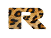 Furry font made of leopard skin texture. Royalty Free Stock Photos