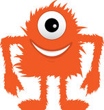 Furry Fuzzy Orange One Eyed Monster. Hairy mythical beast standing alone against white background Stock Image