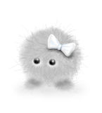 Furry girl. A furry grey creature with white bow Stock Photography