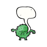 furry green creature with speech bubble Royalty Free Stock Images
