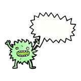 Furry green creature with speech bubble Stock Image