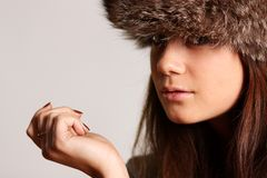 Furry hat Royalty Free Stock Images