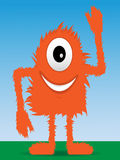 Furry Monster Waving Stock Photography