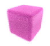 Furry pink cube Royalty Free Stock Image
