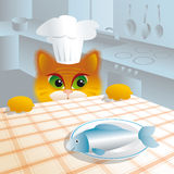 Furry rascal. Cat at the table in the kitchen royalty free illustration