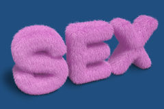 Furry SEX letters on a blue background Stock Photos