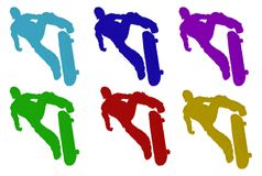 Furry Skateboarder Silhouettes Royalty Free Stock Images