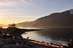 furry solnedgång för liten vik arkivbild