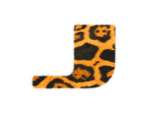 Furry text letter made of cheetah skin texture. Illustration of letter  on white Royalty Free Stock Photos