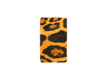 Furry text letter made of cheetah skin texture. Illustration of letter  on white Stock Image