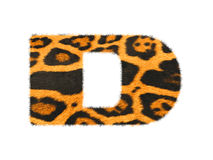 Furry text letter made of cheetah skin texture. Illustration of letter  on white Stock Photography