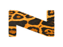 Furry text letter made of cheetah skin texture. Illustration of letter  on white Royalty Free Stock Photo
