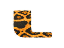 Furry text letter made of cheetah skin texture. Royalty Free Stock Photography