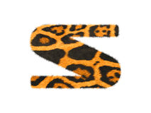Furry text letter made of cheetah skin texture. Stock Photo