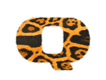 Furry text letter made of cheetah skin texture. Illustration of letter  on white Stock Photo