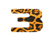Furry text number made of cheetah skin texture. Illustration of number  on white Royalty Free Stock Photo