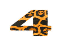 Furry text number made of cheetah skin texture. Illustration of number  on white Stock Photography
