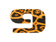 Furry text number made of cheetah skin texture. Illustration of number  on white Stock Images