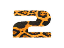 Furry text number made of cheetah skin texture. Stock Photography