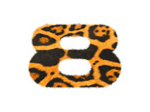 Furry text number made of cheetah skin texture. Illustration of number  on white Stock Photos