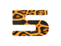 Furry text number made of cheetah skin texture. Illustration of number  on white Royalty Free Stock Image