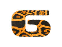 Furry text number made of cheetah skin texture. Illustration of number  on white Stock Photo