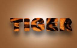 Furry text tiger. Furry text image, written tiger, to download as image with dark brown background vector illustration
