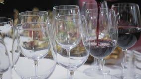 Furshet Столешница вполне стекел вина с канапе и antipasti на заднем плане Пузыри Шампани сток-видео