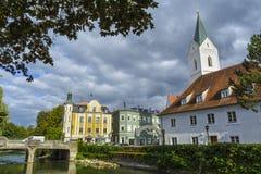 Furstenfeldbruck,老城市在巴伐利亚,德国 免版税库存图片