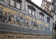 Furstenzug (Procession of Princes, 1871-1876, 102 meter, 93 people) is a giant mural decorates the wall. Dresden, Germany Stock Image
