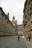 Furstenzug (Procession of Princes, 1871-1876, 102 meter, 93 people). DRESDEN, GERMANY stock photography