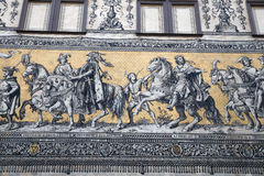 Furstenzug (Procession of Princes, 1871-1876, 102 meter, 93 people) is a giant mural decorates the wall. Dresden, Germany Stock Photo