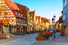 Furth, Bavaria, Germany. Scenic sunset view of ancient buildings and street architecture in the Old Town of Furth, Bavaria, Germany Stock Images