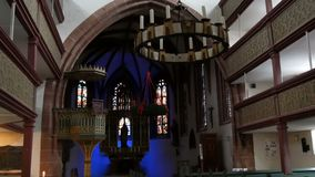 Furth, Germany - December 3, 2018: The interior of the old Catholic church without people.  stock video footage
