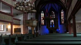 Furth Tyskland - December 3, 2018: Inre av den gamla katolska kyrkan utan folk arkivfilmer